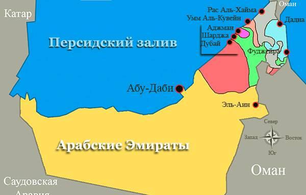 Дубаи на карте ОАЭ