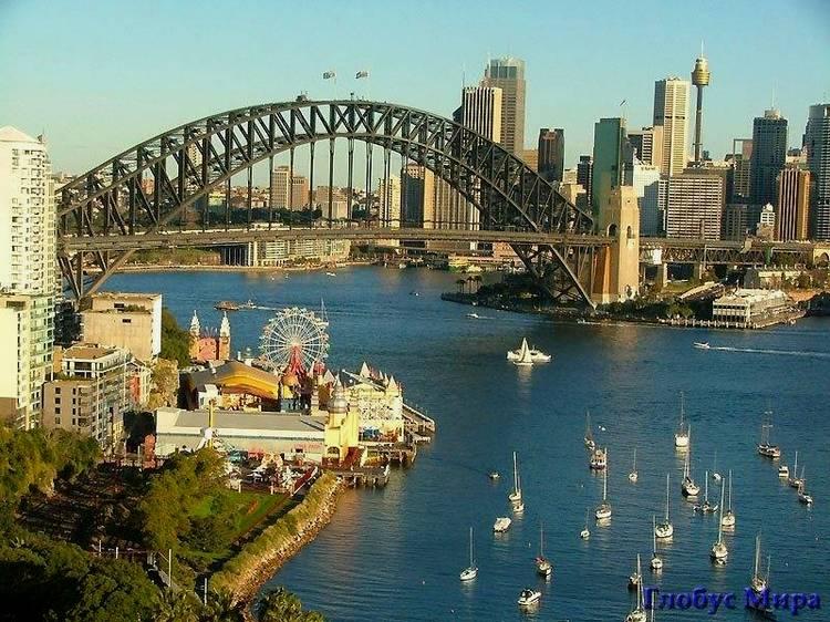 Город Сидней. Вид на мост Харбор-Бридж