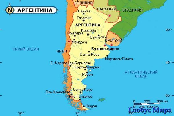 Аргентина на карте мира