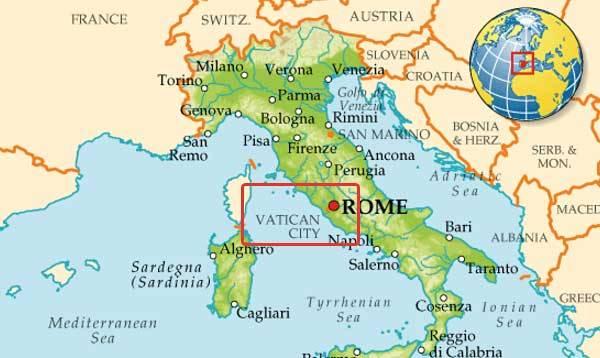 Ватикан на карте Италии