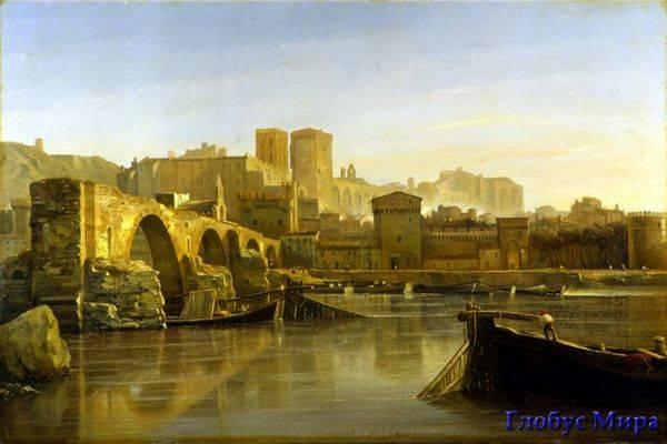 Старинное изображение моста в Авиньоне