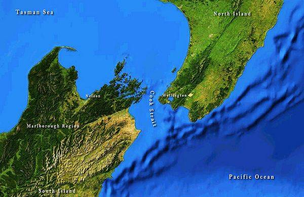 Пролив Кука на карте