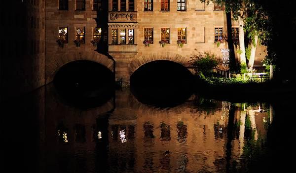 Река Пегниц ночью