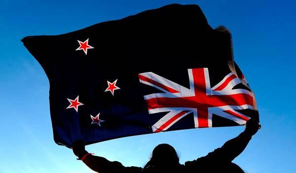 Британский флаг в углу флага Новой Зеландии