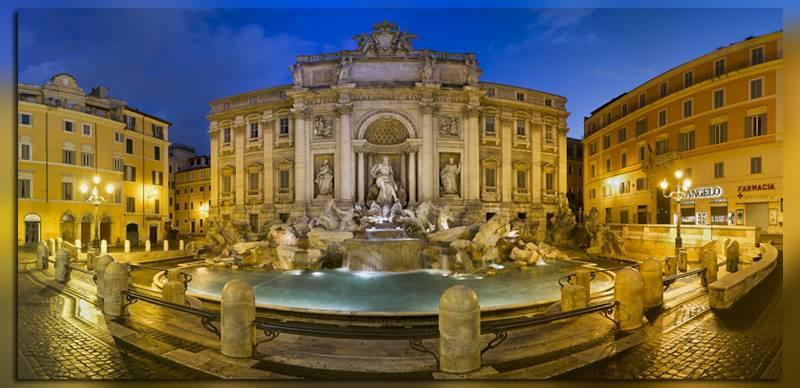 Вид на фонтан ди Треви в Италии