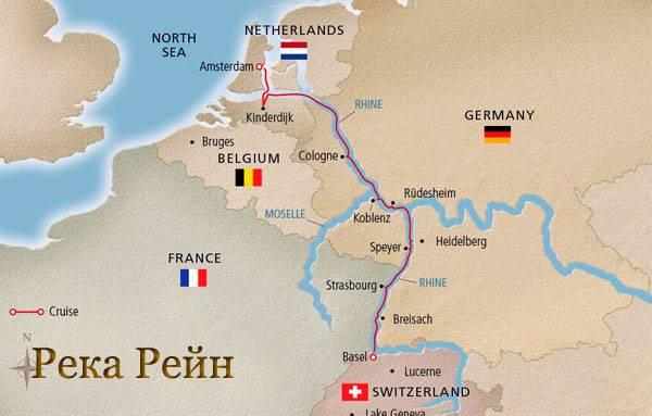 Рейн на карте