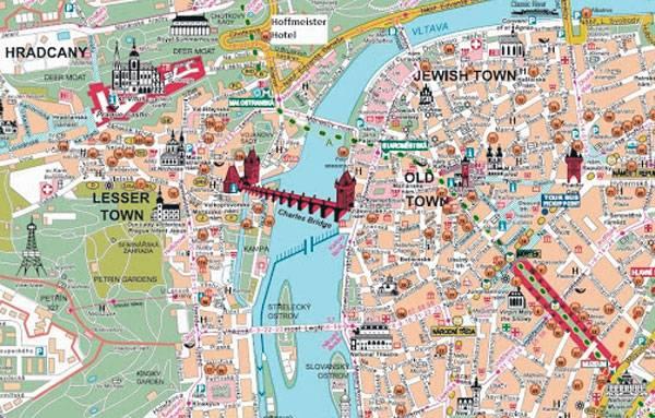 Карта Праги и Карлов мост