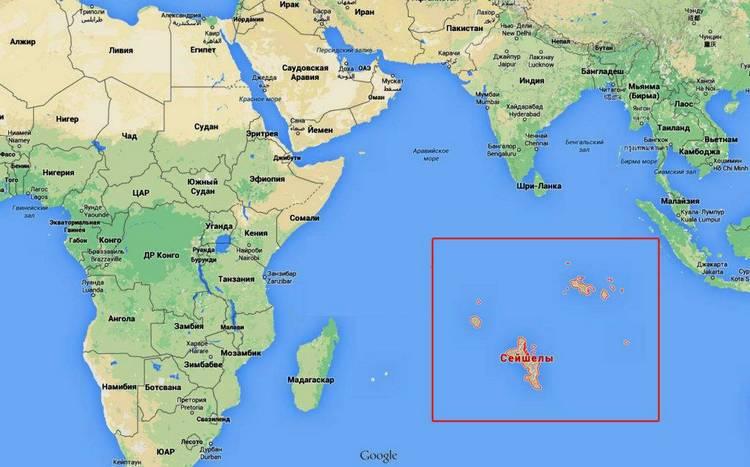 Сейшелы на карте