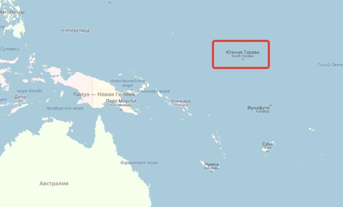 Кирибати на карте Океании