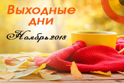 Выходные дни в ноябре 2018 года в России: производственный календарь