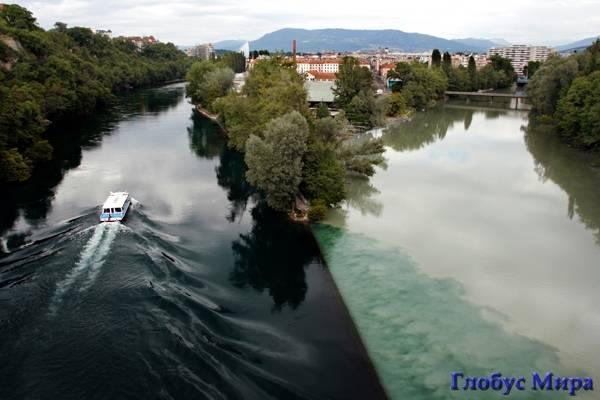 Река Рона в Женеве