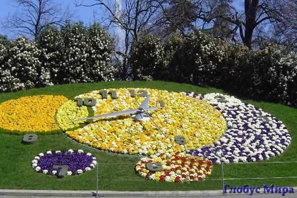 Цветочные часы в Женеве