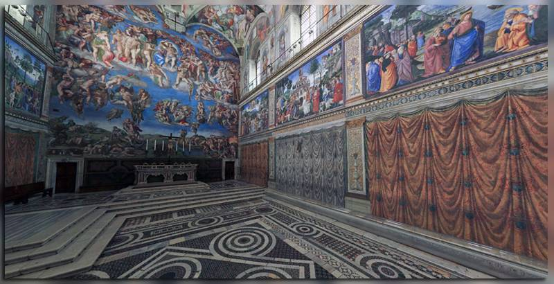 Сикстинская капелла со фресками Микеланджело