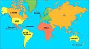 Азия на развернутой карте мира