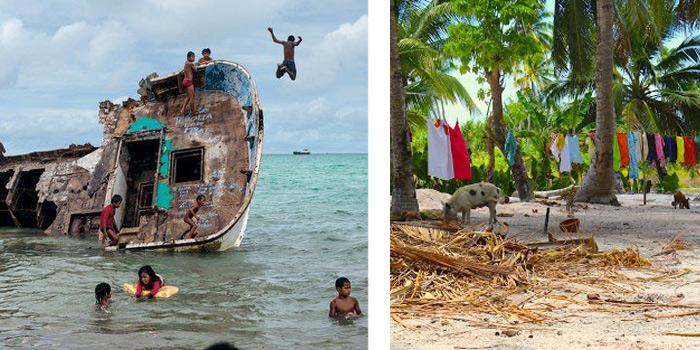Дети развлекаются на Кирибати