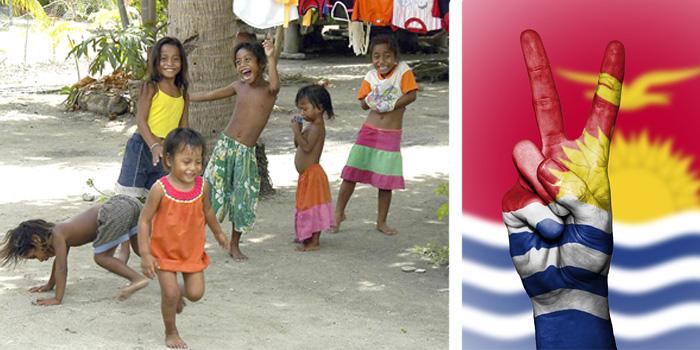 Дети племени аборигенов на Кирибати